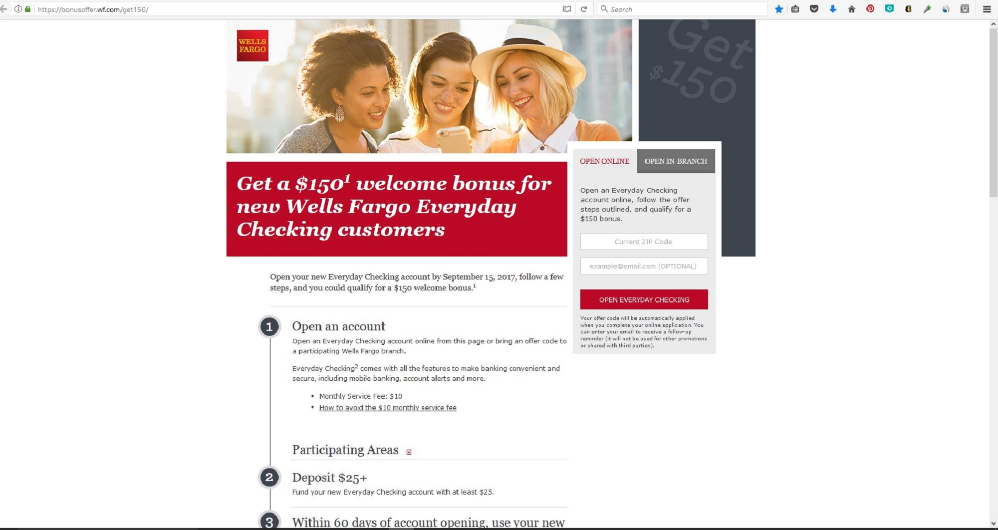 opening a second checking account wells fargo