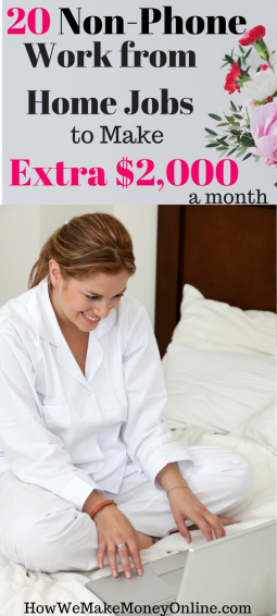 20 non-phone work from home jobs to make extra $2,000 a month