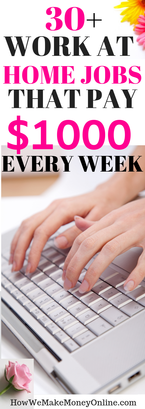 30+ work at home jobs that pay $1000 weekly. Get PAID every week. Looking for the BEST home jobs that pay weekly? In this post, I will SHOW you more than 30 work at home jobs that pay WEEKLY. Most of them are legitimate work from home jobs hiring now. No college degree needed. Also, you can make up to $24/hr or more. Apply for these high-paying work from home jobs and get paid EVERY WEEK. #workfromhome #workfromhomejobs #onlinejobs #momjobs #homejobs #onlinejobsfromhome #remotejobs #telecommute #virtualjobs #makemoney #sidehustles #diy