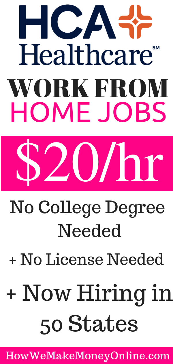 HCA Work from Home Jobs: $20/hr