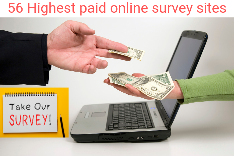 56 legitimate paid online surveys, high paying online surveys to make up to $50/hr. Looking to make money from home with the BEST paid survey sites? In this post, I will show you HOW to make extra money from highest paying online surveys. Many of these legit online survey companies pay cash and you can sign up for FREE. Whether you are a stay at home mom, stay at home dad, student or retiree, you can make money from paid surveys. #surveys #onlinesurveys #paidsurveys #legitsurveys #onlinesurveysites #workfromhome #workfromhomejobs #makemoneyonline #extramoneyideas #moms #stayathomejobs